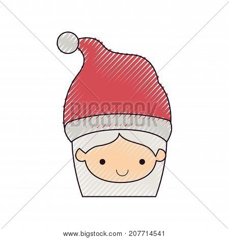 santa claus woman kawaii face smiling expression with hat color crayon silhouette on white background vector illustration