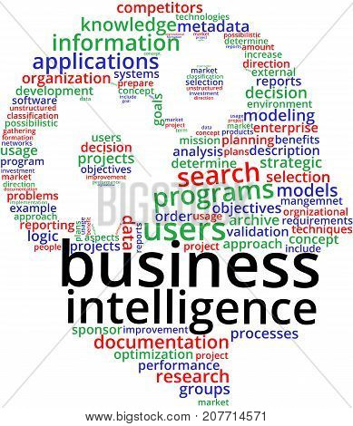 Business Intelligence Word Cloud Text Illustration. BI keyword tags isolated vector. Transparent.