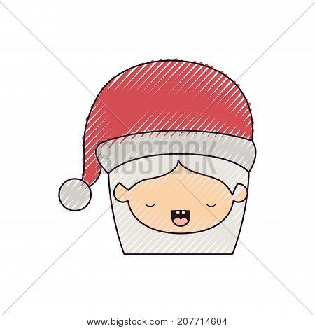 santa claus woman kawaii face with eyes closed expression with hat color crayon silhouette on white background vector illustration