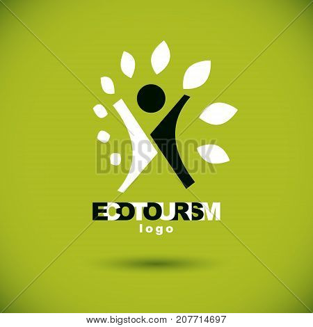 Vector illustration of joyful abstract individual with raised hands up. Ecotourism conceptual logo. Wellness and harmony symbolic symbol.