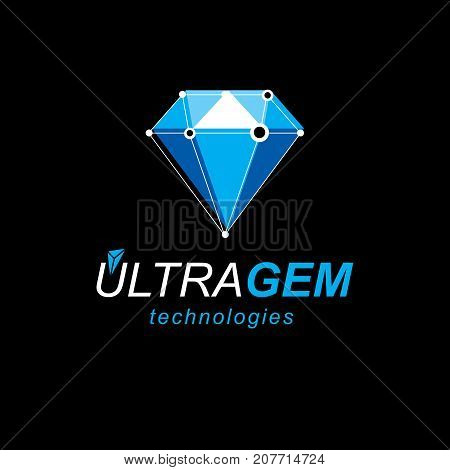 Technology corporate emblem. Abstract three-dimensional shape vector design element.