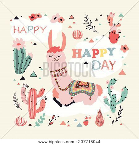 Happy lama card with lovely flowers and cacti in vector. Good for posters, stickers, cards, notebooks and other childish accessories.