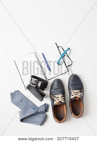 Men's Shoes And Accessories On White