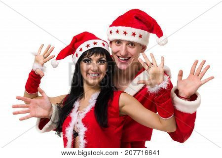 Happy christmas couple, isolated over white background.