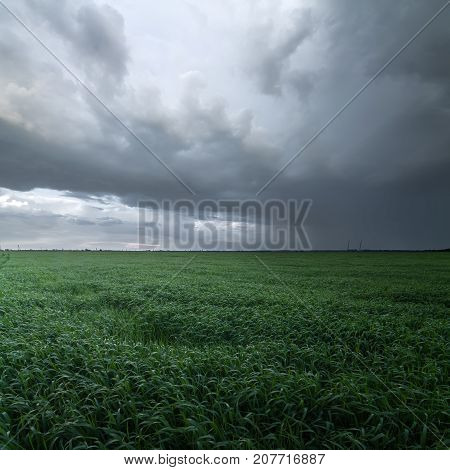 storm clouds over a field / spring weather natural phenomena