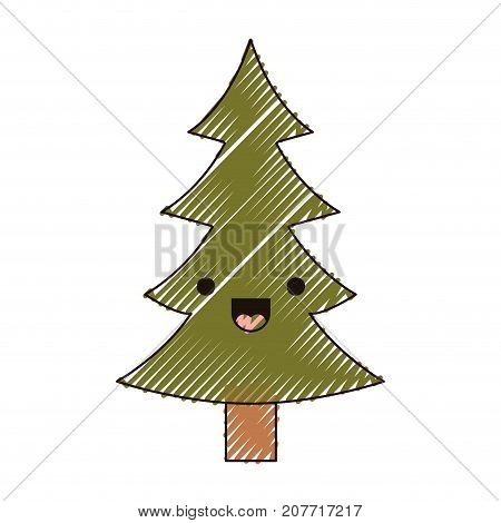 kawaii christmas pine with trunk and smiling expression color crayon silhouette on white background vector illustration