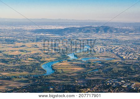 Villefranche Sur Saone City And Saone River In Beaujolais Land