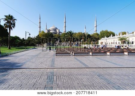 Istanbul Turkey- September 19 2017: Exterior of the Blue Mosque Istanbul's most representative mosque visited by millions of tourists