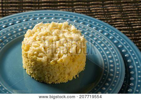 Corn Couscous. Cuscuz into a dish. Gourmet food.