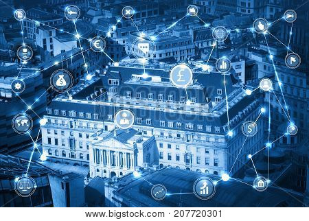 Bank of England in the City of London and business network connections concept with lots of business icons. Technology, transformation and innovation idea.