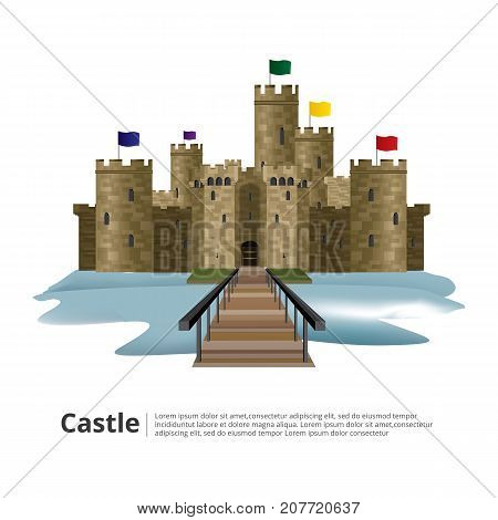 Medieval castle with Hight tower and Wall vector illustration
