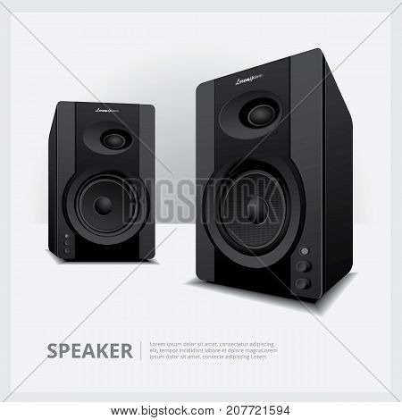 Speakers Realistic 2 Dimension isolated vector illustration