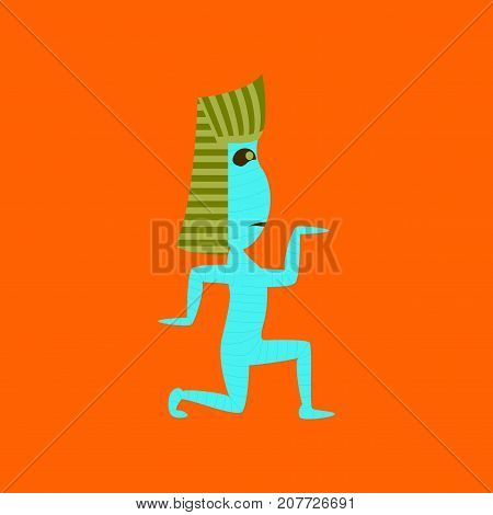 flat illustration on stylish background of mummy halloween monster