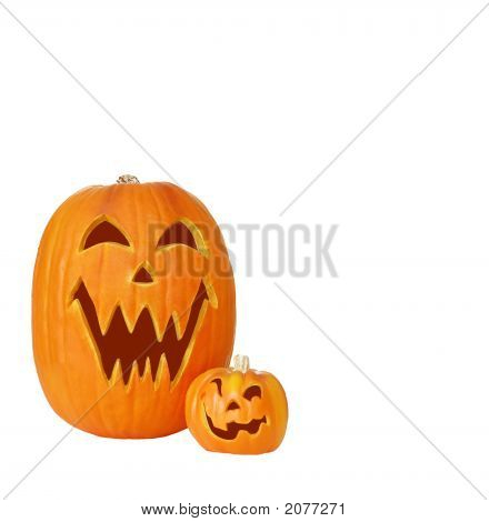 Two Jack O Lantern Pumpkins