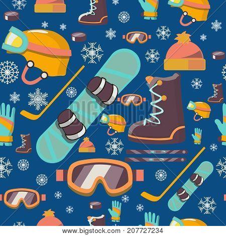 Winter sports seamless pattern with snowboard, helmet, ski.