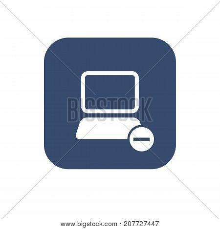 Icon remove computer. Vector UI design illustration