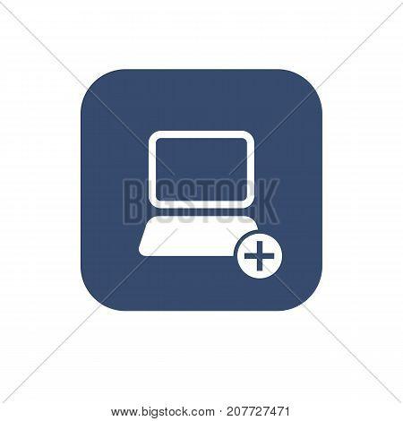 Icon add computer. Vector UI design illustration