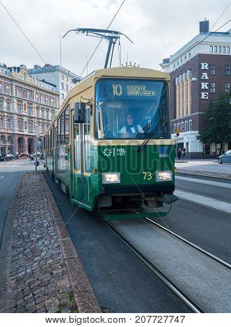 HELSINKI, FINLAND - SEPTEMBER 11:  Tramcar on Mannerheimintie on September 11, 2017 in Helsinki, Finland. The trams began in 1891.