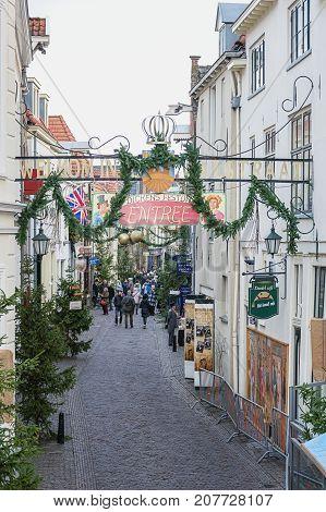 Deventer Netherlands - December 18 2016: Visitors to the Dickens Festival in Deventer in The Netherlands