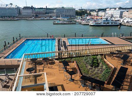 HELSINKI, FINLAND - SEPTEMBER 11:  Waterfront on September 11, 2017 in Helsinki, Finland. The Sea Pool is heated to 27C.