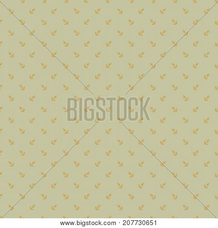 Seamless geometric pattern with incline anchors on cardboard green background