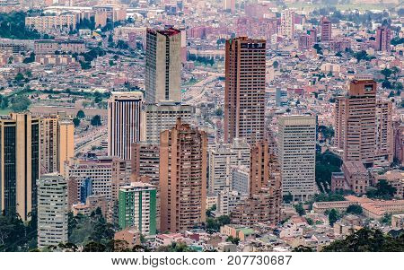 Aerial view of tall buildings of the city of Bogota Colombia