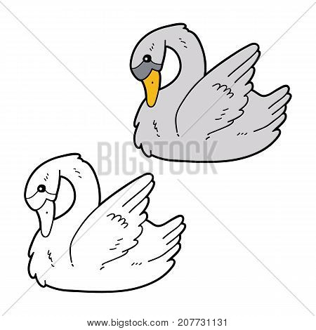 Vector illustration coloring page of cartoon swan character for children, coloring and scrap book