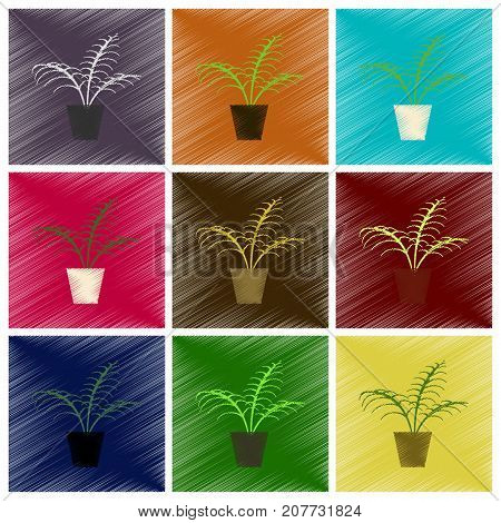 assembly flat shading style icons Ficus houseplant flowerpot
