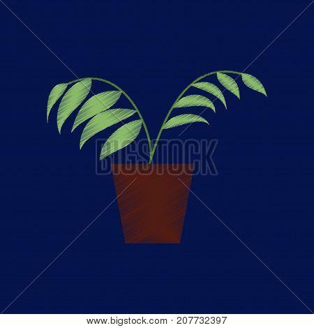 flat shading style icon Ficus flowerpot houseplant