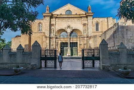 SANTO DOMINGO DOMINICAN REPUBLIC - SEPTEMBER 10 2017: Entrance of the Basilica Cathedral of Santa Maria la Menor. Santo Domingo Dominican Republic.