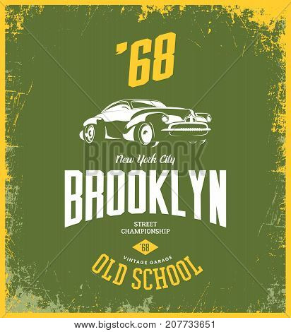 Vintage vehicle vector tee-shirt logo isolated on green background.  Premium quality old sport car logotype t-shirt emblem illustration. Brooklyn, New York street wear superior retro tee print design.