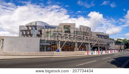 EDINBURGH, SCOTLAND - JULY 28: The Scottish Parliament building on the Royal Mile on July 28, 2017 in Edinburgh, Scotland. The new buildings were constructed as part of political devolution.