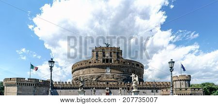 Tower Of The Homage Of The Castle Of San Angelo And Canvas Of Front Wall With Battlements With A Blu