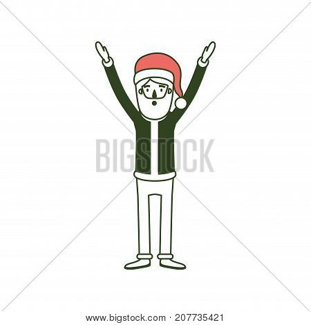 santa claus caricature full body with hands up hat and costume on color section silhouette vector illustration