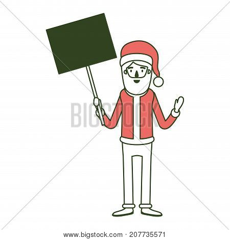 santa claus caricature full body holding a poster with pole with hat and costume on color section silhouette vector illustration