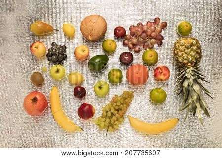 Healthy fruit background ; Studio photo of different fruits on white bright background high resolution product