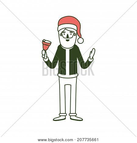 santa claus caricature full body holding a bell with hat and costume on color section silhouette vector illustration