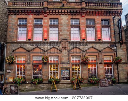 EDINBURGH, SCOTLAND - JULY 28: The Scotch Whisky Experience along the Royal Mile on July 28, 2017 in Edinburgh, Scotland. They provide an amazing experience for tourists interested in scotch whisky.