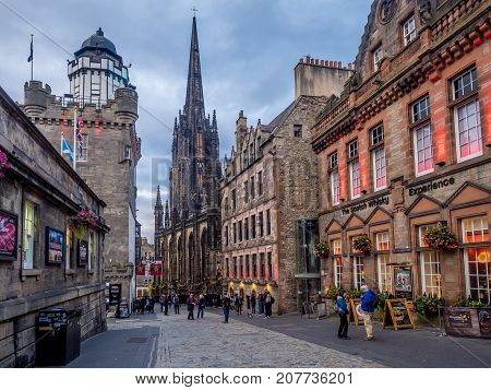EDINBURGH, SCOTLAND - JULY 28: Looking down the Royal Mile in the Old Town on July 28, 2017 in Edinburgh Scotland. The Royal Mile is the most popular attraction in Edinburgh and hosts many tourists.