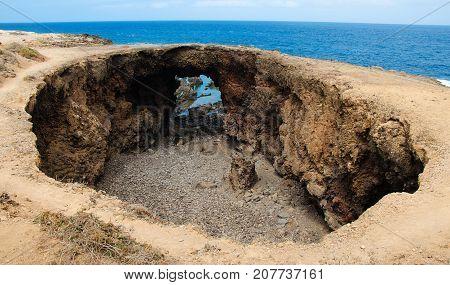 El Rayo Buenavista, big round rock crater hole, Tenerife