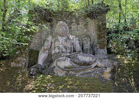 BOMARZO ITALY - 2 JULY 2017 - A visit at Monster Park (in italian 'Parco dei Mostri'), an esoteric architecture garden in Bomarzo.