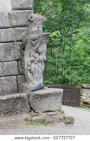 BOMARZO ITALY - 2 JULY 2017 - A visit at Monster Park (in italian 'Parco dei Mostri'), an esoteric architecture garden in Bomarzo