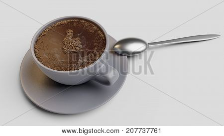 Cup of coffee with foam as like 3d render isolated on white