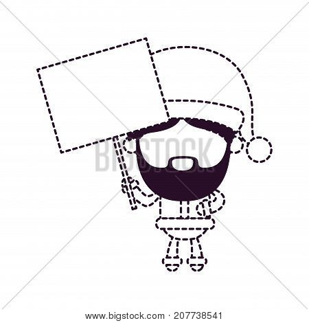 santa claus faceless cartoon holding a wooden poster on dotted monochrome silhouette vector illustration