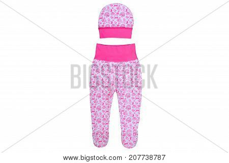 clothes for kids isolated on a white background children's trousers together with a hat