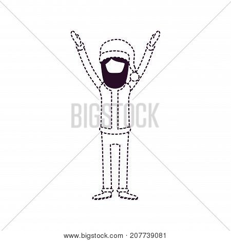 santa claus caricature faceless full body with hands up hat and costume on dotted monochrome silhouette vector illustration