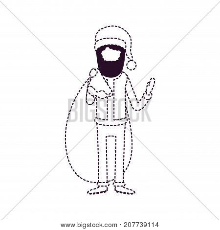santa claus faceless caricature full body with gift bag hat and costume on dotted monochrome silhouette vector illustration