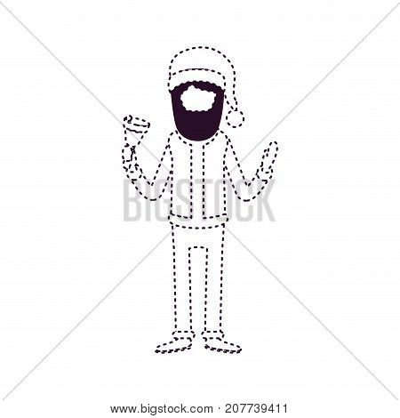 santa claus faceless caricature full body holding a bell with hat and costume on dotted monochrome silhouette vector illustration
