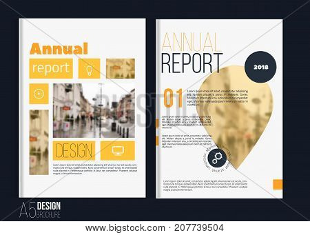 Vector brochure cover templates with blured city landscape. Business book cover design, flyer brochure cover, professional corporate identity style for presentations. A5.