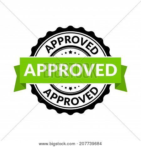 Approved seal stamp sign. Vector rubber round permission symbol for approval background.